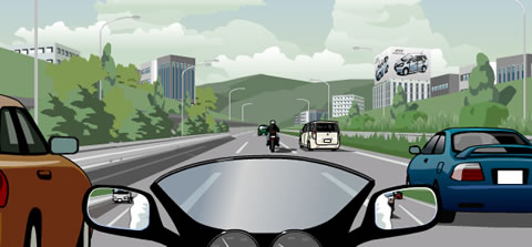 高速道路をバイクで走行中のイラスト